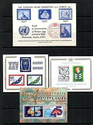 (Ref-8780) United Nations Selection of 4 Miniature Sheets Mint (MNH)