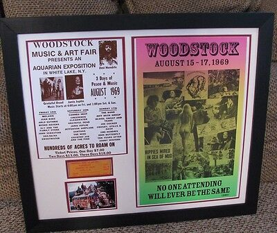 "FRAMED WOODSTOCK Collection Concert Poster Festival Ticket & Photos Lg 31""x27"""