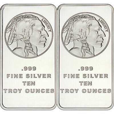 American Buffalo Bar by SilverTowne 10oz .999 Fine Silver Bar (2 pc)