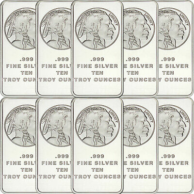 American Buffalo Bar by SilverTowne 10oz .999 Silver Bar (10pc)