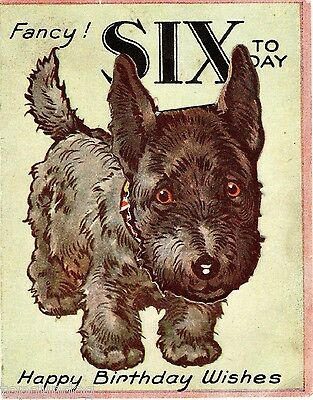 Novelty Scottish Terrier Dog 6th Birthday Card Moveable Head c1920/30s