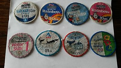 Vintage S. T. A.  & Kellogs Frosties Cloth Swimming Badges (8 In All)