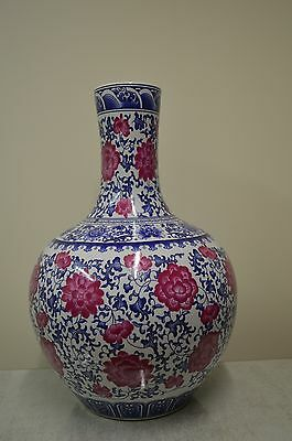 Beautiful Blue White and Pink Neck Vase