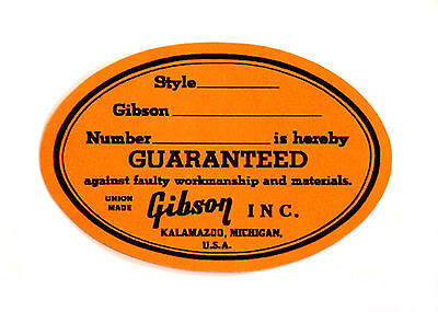 "Vintage Gibson Guitar Orange Label ""Union Made"" 1964 -1969"