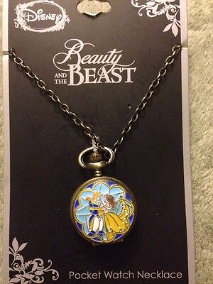 NEW Disney Beauty And The Beast Stained Glass Pocket Watch Necklace