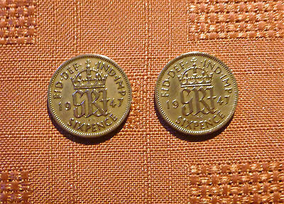 2 x 1947 SIX 6 PENCE PIECES - GEORGE VI - GOOD CONDITION