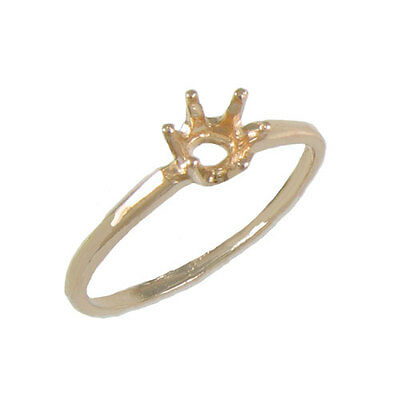 Prenotched 5Mm Round Solitaire Ring Cast In 10K Yellow Gold Size 7.5 Cr114-10Ky