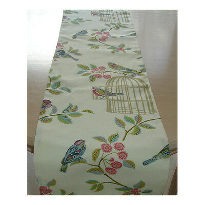 "NEW Coffee Table Runner 4ft 120cm Duck Egg Birds 48"" Shabby Chic Gold Bird Cage"