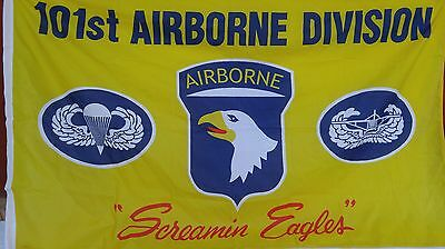 "Screamin Eagles 101st Airborne Division 60"" x 35"" Mlitary Flag USA Military"