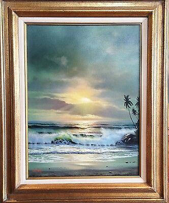Anthony Casay Signed Original Oil Painting Ocean at Dusk Listed Artist Outstand
