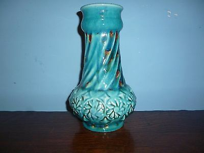 West German Pottery Vase 1960s / 1970s turquoise blue /brown