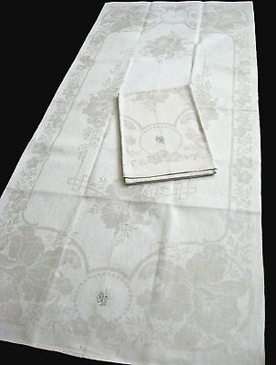 2 old unused linen damask Towels / Runners beautiful floral design
