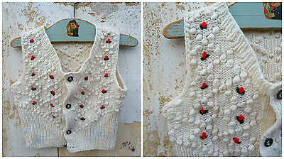 Vintage Austria 1970/70s Hand knitted & embroidered baby vest/sweater / Trachten