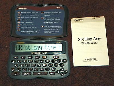 Franklin SA-206 Spelling Ace with Thesaurus and User's Guide Booklet