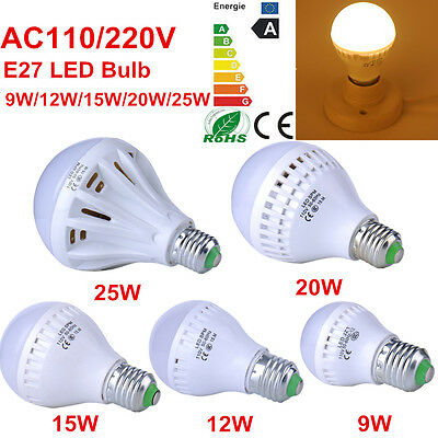 E27 9W 12W 15W 20W 25W LED Bulbs Energy Saving Warm White Globe Lamp AC110V 220V