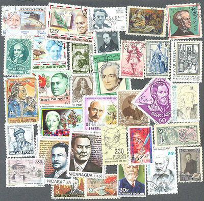 Lierature-writing-Authors 100 all different  stamp collection
