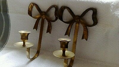 Pair Of Brass Bow Wall Candle Holders Sconces