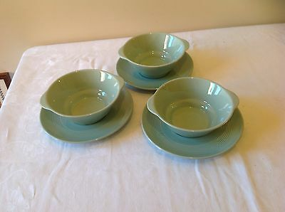 Wood's Ware Beryl 3 soup / desert dishes with saucers