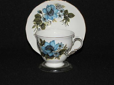Vintage Queen Anne Tea Cup and Saucer Set Blue Flowers Daisy