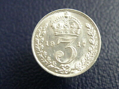 1917 King George V SILVER THREEPENCE COIN - Good Detail Good Lustre
