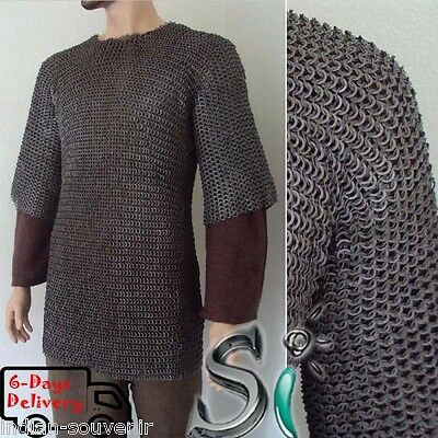 Chainmail Shirt Armor X Large  10Mm Flat Riveted W Washer Haubergeon Medieval