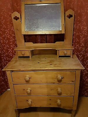 Victorian pine dressing table cabinet chest of draws tilting mirror bedroom