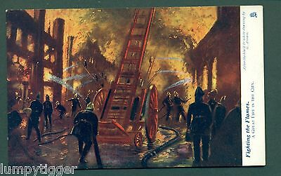 TUCK 6459 FIGHTING THE FLAMES,A GREAT FIRE IN THE CITY, vintage postcard