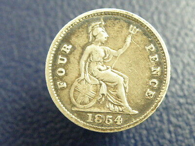 1854 - Queen Victoria - SILVER GROAT FOURPENCE COIN