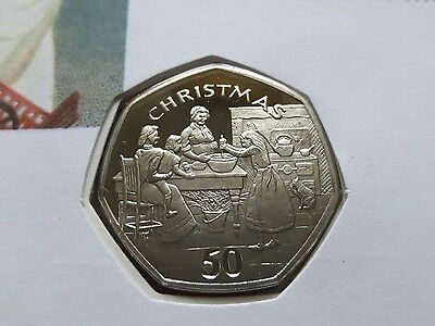 1998 Isle of Man Christmas 50p Fifty Pence Coin & Stamp Cover - PROOF