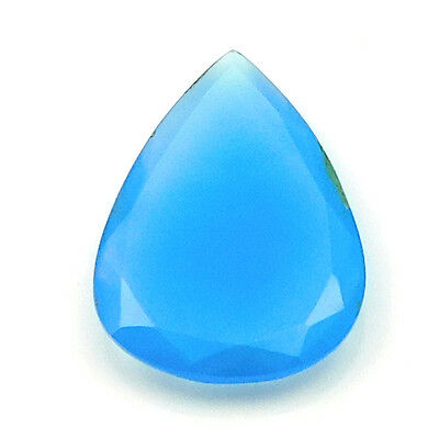 32.50 cts Huge Blue Chalcedony Pears Shape Both side Faceted Loose Gemstone U-84