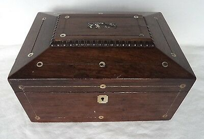 VICTORIAN c1850 WOODEN & MOTHER OF PEARL INLAY WORK / SEWING BOX