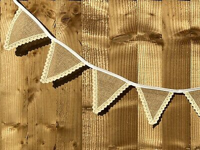 Hessian Bunting & White Lace Wedding Christening Decor Shabby Chic Rustic 6ft