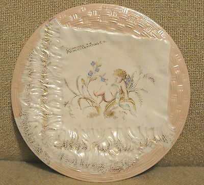 """1900 Antique DETROIT """"PEOPLES OUTFITTING CO."""" DRESDEN HANDKERCHIEF PLATE w/CUPID"""