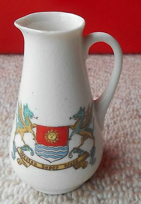 Crested China Jug Weston Super Mare, Late 19th Century, Unmarked