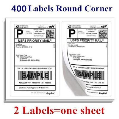 400 Half Sheet Shipping Mailing Label 8.5 x 5.5 Self Adhesive USPS PayPal FedEx