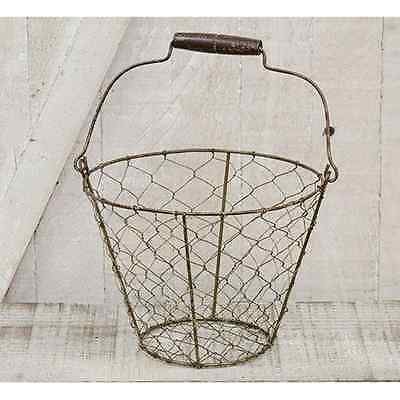 New CHICKEN WIRE EGG GATHERING BASKET Metal Pail Bucket Primitive French Country