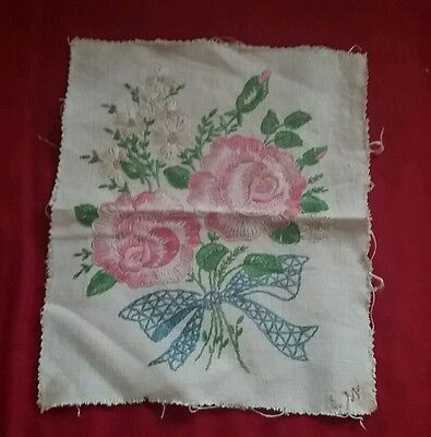 Unframed Hand Embroidered Linen Sampler 9x11 inches