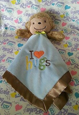 """Just One You Carter's Baby Monkey Plush Blanket """"I Love Hugs"""" Lovey Rattle"""