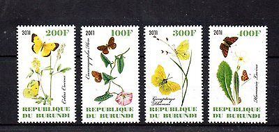 set of 4 mint butterfly and flower themed stamps