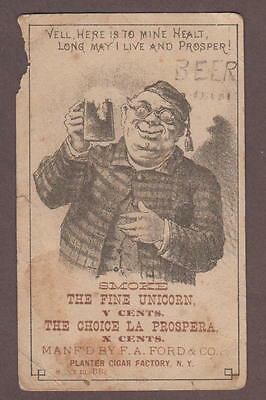 Beer Drinking Man Trade Card F.A. Ford Planter Cigar Factory Smoke Fine Unicorn