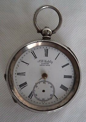 VICTORIAN c1900 J.B. YABSLEY LONDON SOLID SILVER POCKET WATCH