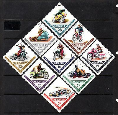 set of 9 used motorbike theamed stamps from hungary