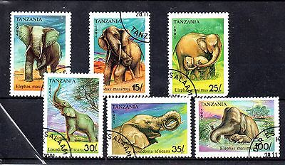set of 6 used elephant theamed stamps
