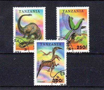 set of 3 used dinosaur theamed stamps