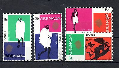 set of 4 used gandhi stamps from grenada