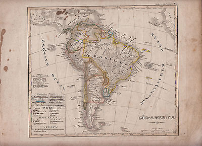 1841 Map of South America with Brazil Stieler Schul Map