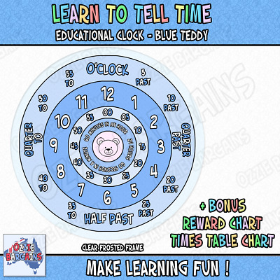 Learn to tell Time Educational Clock - Educational / Colour: BLUE - 25cm *NEW*