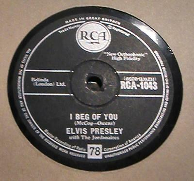"10"" 78 rpm RCA UK = Elvis Presley. DON'T/I BEG OF YOU  RCA-1043 VG+"