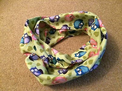 Handmade Children's/Toddlers Colourful Owl Infinity Scarf