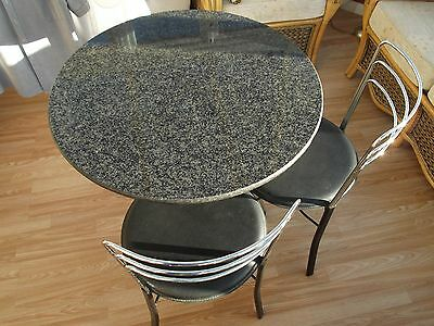 john lewis round marble table, black with 2 chairs